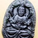 Black Green Jade Tibet Buddhist Multiple-Hand Kwan-Yin Amulet Pendant 53mm*37mm  TH028