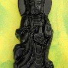 Black Green Jade Tibet Buddhist Mercy Kwan-Yin Amulet Pendant 55mm*20mm  TH031
