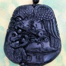 Black Green Jade Eagle Hawk Bear Fortune FU Pendnt 46mm*40mm  TH033