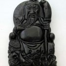 Black Green Jade Seated Han Dynasty Guan-Gong Amulet Pendant 47mm*28mm  TH036