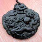 Vintage Style Black Green Jade Celestial Dragon Fireball Amulet Pendant 52mm*51mm  TH040