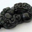 Black Green Jade Fortune Pi-Xiu Dragon Amulet Pendant 36mm*18mm  TH041