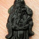 Black Green Jade God Of Fortune And Health Ru-Yi Amulet Pendant 48mm*28mm  TH042