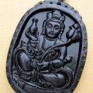 Black Green Jade Tibet Mercy Kwan-Yin Pu-Sa Amulet Pendant 55mm*40mm  TH044