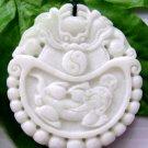 White Jade Dragon Fortone Pi-Xiu Amulet Pendant 50mm*45mm  TH201