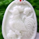 White Jade Zodiac Rooster Amulet Pendant 40mm*30mm  TH206