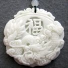 White Jade Dragon Good Blessing FU Amulet Pendant 45mm*45mm  TH219