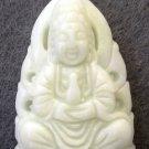 White Jade Tibet Buddhist Kwan-Yin Guanyin Amulet Pendant 35mm*20mm  TH240