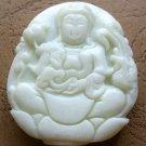 White Jade Tibet Buddhist Kwan-Yin Phoenix Amulet Pendant 45mm*38mm  TH243