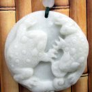 White Jade Two Fortune Toads Frogs Pendant 37mm*37mm  TH253