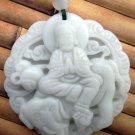 White Jade Tibet Buddhist Kwan-Yin Elephant Amulet Pendant 45mm*45mm  TH272