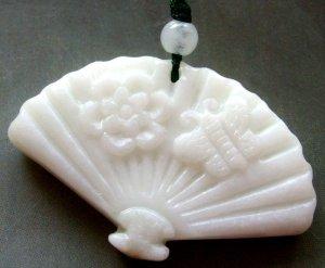 White Jade Fan Bee Flower Pendant 45mm*30mm  TH276