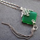 Malay Jade Alloy Metal Pendant Necklace 20mm*20mm  T2432