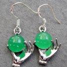 Pair Of Green Jade Alloy Metal Hand Shape Earrings 18mm*14mm  T2435