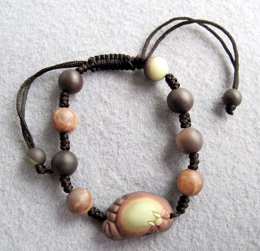 Zipao Jade Foot Spider Araneid Bead Beads Bracelet  T2457