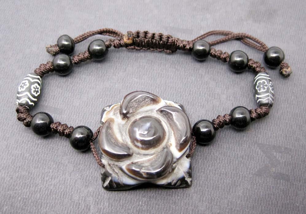 Tibet Eye Agate Gem Flower Leaf Bead Beads Bracelet 24mm*24mm  T2466