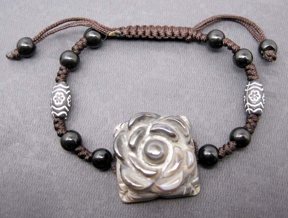 Tibet Eye Agate Gem Flower Leaf Bead Beads Bracelet 23mm*23mm  T2467
