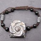 Tibet Eye Agate Gem Flower Leaf Bead Beads Bracelet 25mm*25mm  T2468
