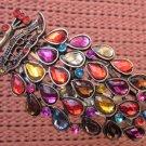 Acrylic Diamond Alloy Metal Peacock Bangle Bracelet  T2488