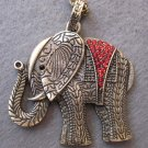 Acrylic Diamond Alloy Metal Elephant Pendant Necklace 700mm*52mm  T2489