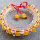Yellow Jade And Crstal Quartz Beads Bracelet  T2508