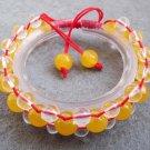 Yellow Jade And Crstal Quartz Beads Bracelet  T2508