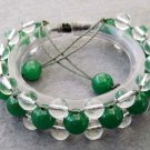 Green Jade And Crystal Quartz Beads Bracelet  T2509