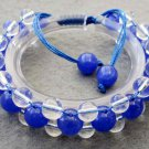 Blue Jade And Crystal Quartz Beads Bracelet  T2510