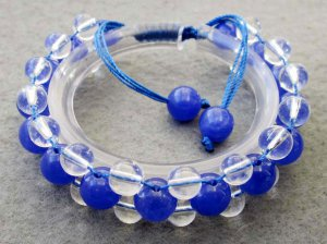 Blue Jade And Crystal Quartz Beads Bracelet  T2510