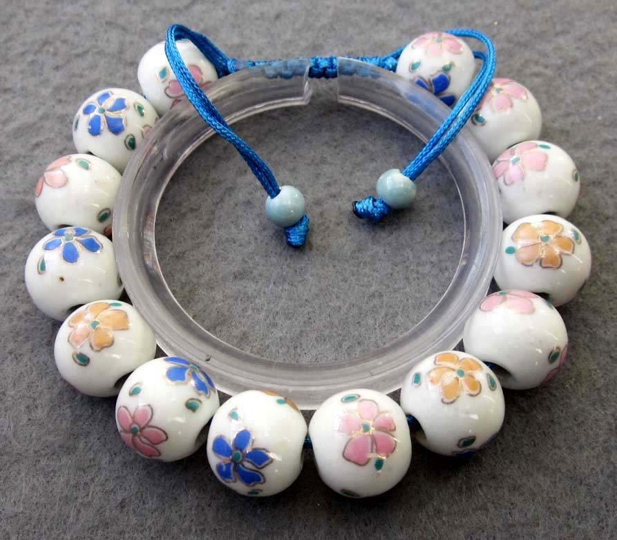12mm Vintage Style Porcelain Flower Beads Bracelet  T2516