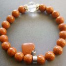 8mm Goldstone Gem Beads Bracelet With Heart  T1744