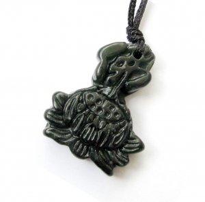 Black Green Jade Tibe Buddhist FO Auspicious Lotus Amulet Pendant 26mm*20mm  TH167