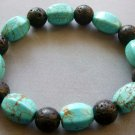 10mm Volcano Stone And Turquoise Gem Beads Bracelet  T1798