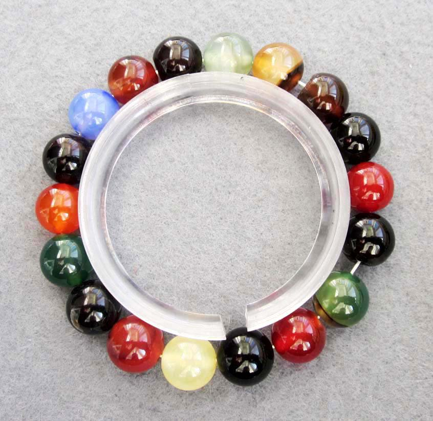 10mm Multi-Color Agate Gem Beads Bracelet  T2519