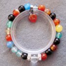 8mm Multi-Color Agate Gem Beads Bracelet With Heart Pendant  T2528