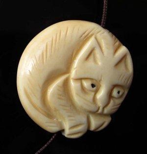 Ox Bone Carved Cat Pendant Bead 30mm*30mm  T2561