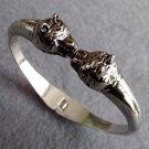 Alloy Metal Twin Wolf-Heads Bangle Bracelet  T2566