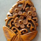 Ox Bone Carved Butterfly Flowers Pendant 45mm*30mm  T2571