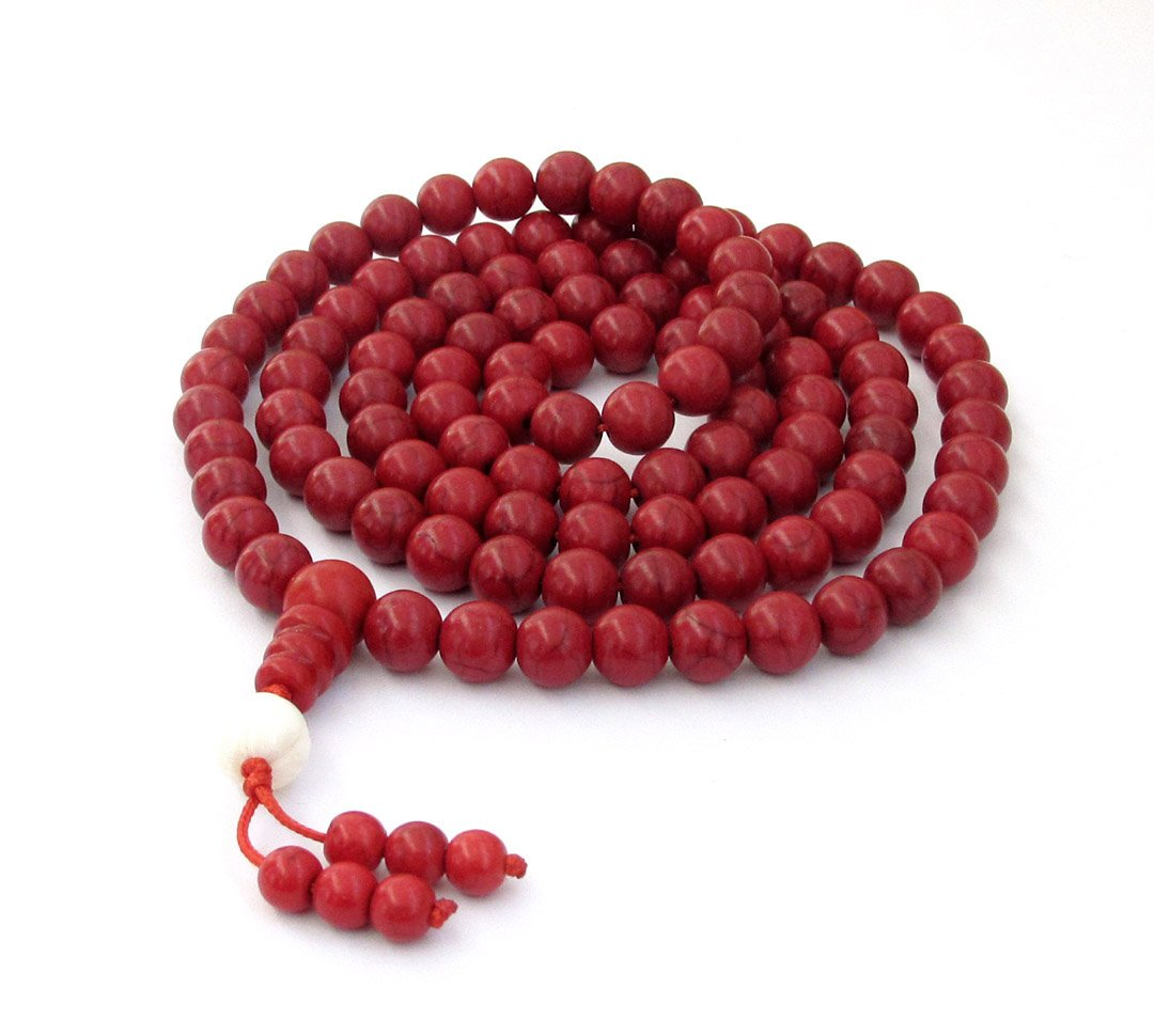8mm 108 Red Turquoise Beads Tibet Buddhist Prayer Mala Necklace  ZZ217