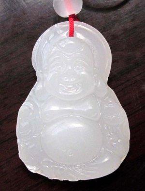White Jade Tibet Buddhist Fortune Buddha Amulet Pendant 34mm*23mm  T2587