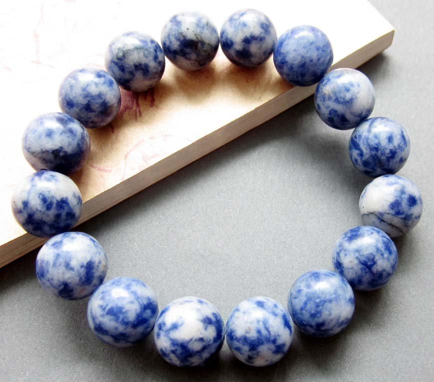 12mm Blue Point Stone Beads Jewelry Bracelet  T2593