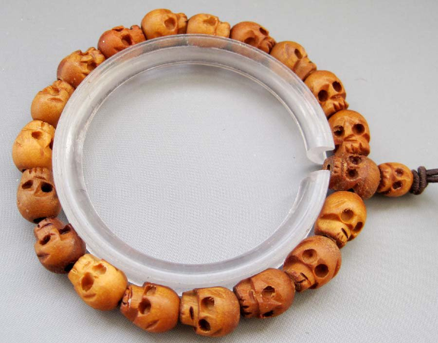 Tibetan 10mm x 9mm Jujube Wood Skull Beads Buddhist Prayer Mala Bracelet  T2597