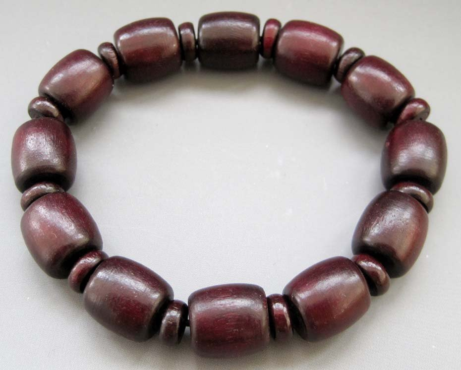 Wood 12mm x 11mm Drum Beads Jewelry Bracelet  T2598