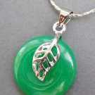 Malay Jade Alloy Metal Circle Leaf Peace Button Pendant 18mm*18mm  T2601
