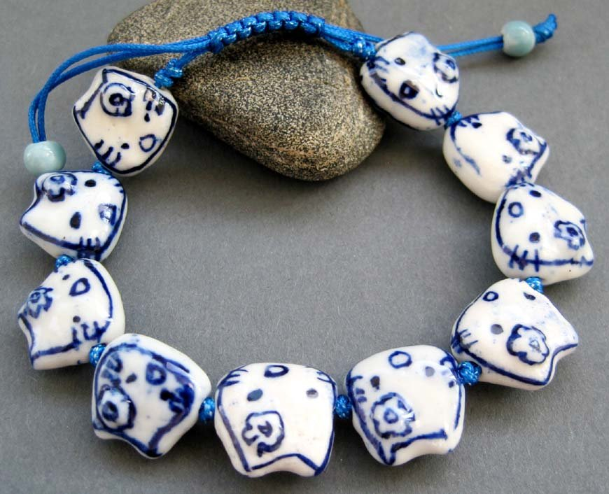 Porcelain Kitty Cat Face Knot Beads Bracelet  T2603