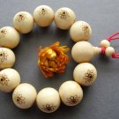 17mm Big Wood Carved Lotus Beads Buddhist Prayer Mala Bracelet  T2605