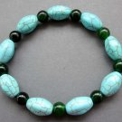 oval Blue Turquoise And Black Green Jade Beads Bracelet  T2607