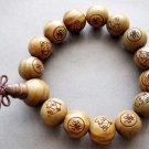 15mm Big Green Sandalwood FO Beads Tibet Meditation Mala Bracelet  T2609