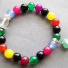 8mm Multiple Color Agate Gem Beads Bracelet With Heart Pendant  T2612