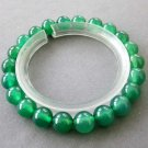 8mm Green Agate Gem Beads Bracelet  T2614